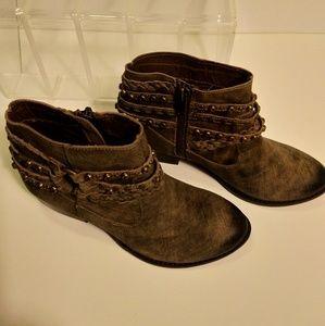 Naughty monkey Leather studed booties sz 7